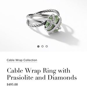 David Yurman Prasiolite Cable ring with diamonds